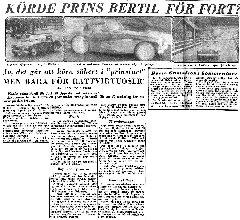 Article from Swedish tabloid Expressen. October 14 1956